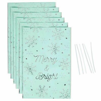 SALE!!! Wilton Christmas Treat Bags -MERRY & BRIGHT -Pack of 6 - 6τεμ Χριστουγεννιάτικα Σακουλάκια για γλυκά με συρματάκια