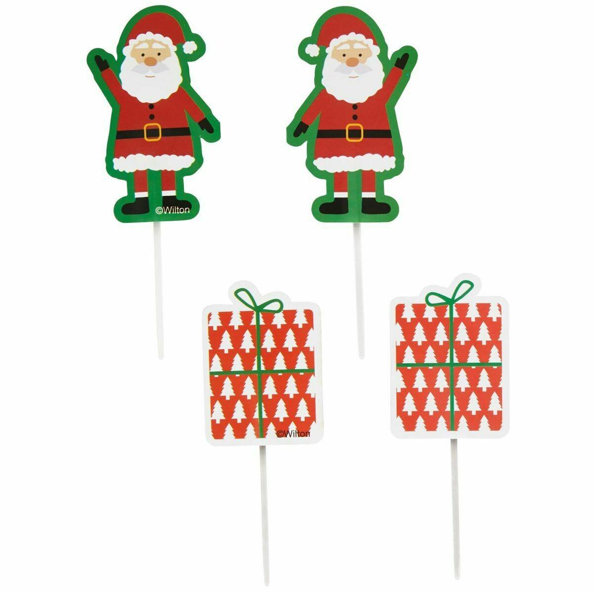 SALE!!! Wilton Treat Picks Santa Claus -12τεμ - Σετ 12τεμ Χριστουγεννιάτικα Τόπερ Άγιος Βασίλης και Δώρα
