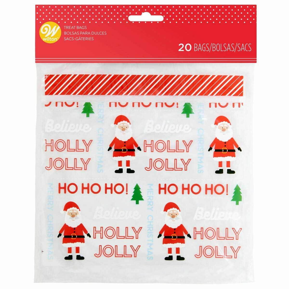 Wilton Christmas Treat Bags -HOLLY JOLLY Resealable Bags -Pack of 20 - 20τεμ  Επανασφραγιζόμενα Σακουλάκια για γλυκά Άγιος Βασίλης