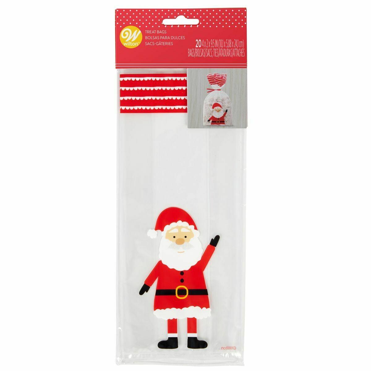 Wilton Christmas Treat Bags -SANTA CLAUS -Pack of 20 - 20τεμ Σακουλάκια για γλυκά με συρματάκια Άγιος Βασίλης