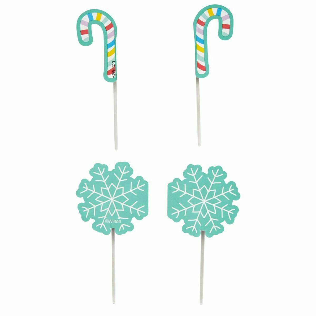 SALE!!! Wilton Treat Picks SNOWFLAKES & CANDY CANES -12τεμ - Σετ 12τεμ Χριστουγεννιάτικα Τόπερ Χιονονιφάδες και Γλειφιτζούρια