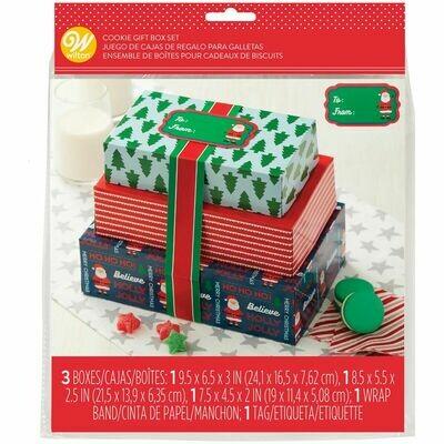 Wilton Christmas Treat Boxes with Ribbons Set of 3  - Σετ 3 τεμ κουτιά χριστουγεννιάτικα με κορδέλες