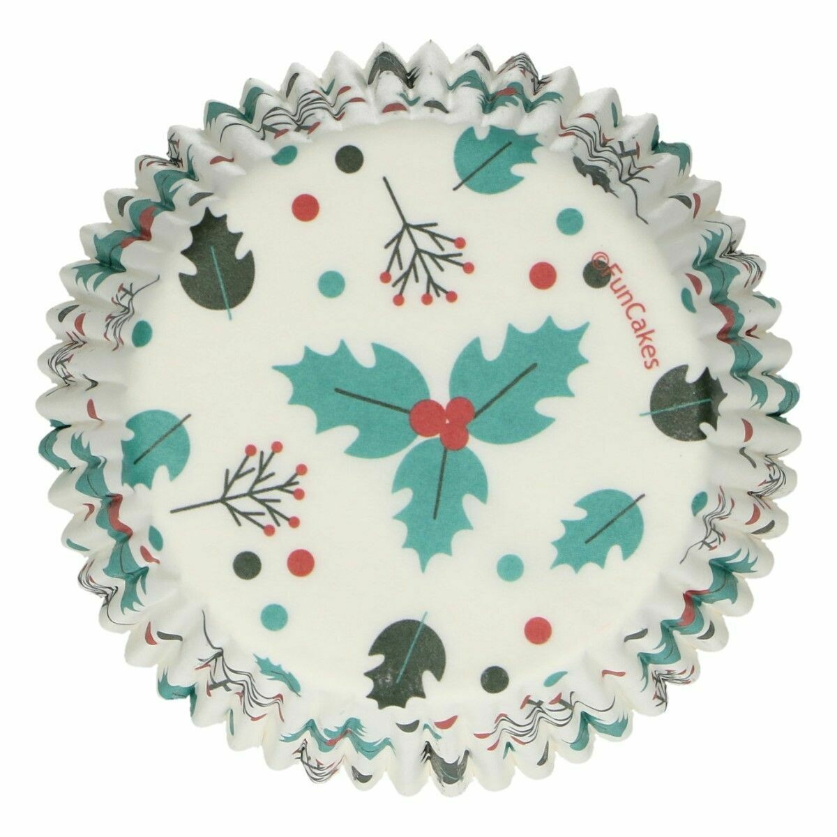 FunCakes Cupcake Cases -CHRISTMAS -HOLLY LEAF -Θήκες Ψησίματος 48 τεμ