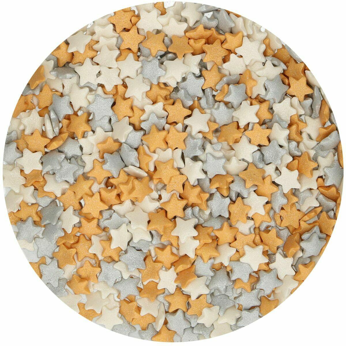 FunCakes Sprinkles -STARS -MIXED SIZED -GOLD & SILVER -Ζαχαρωτά  Χρυσά και Ασημί Αστέρια 60γρ