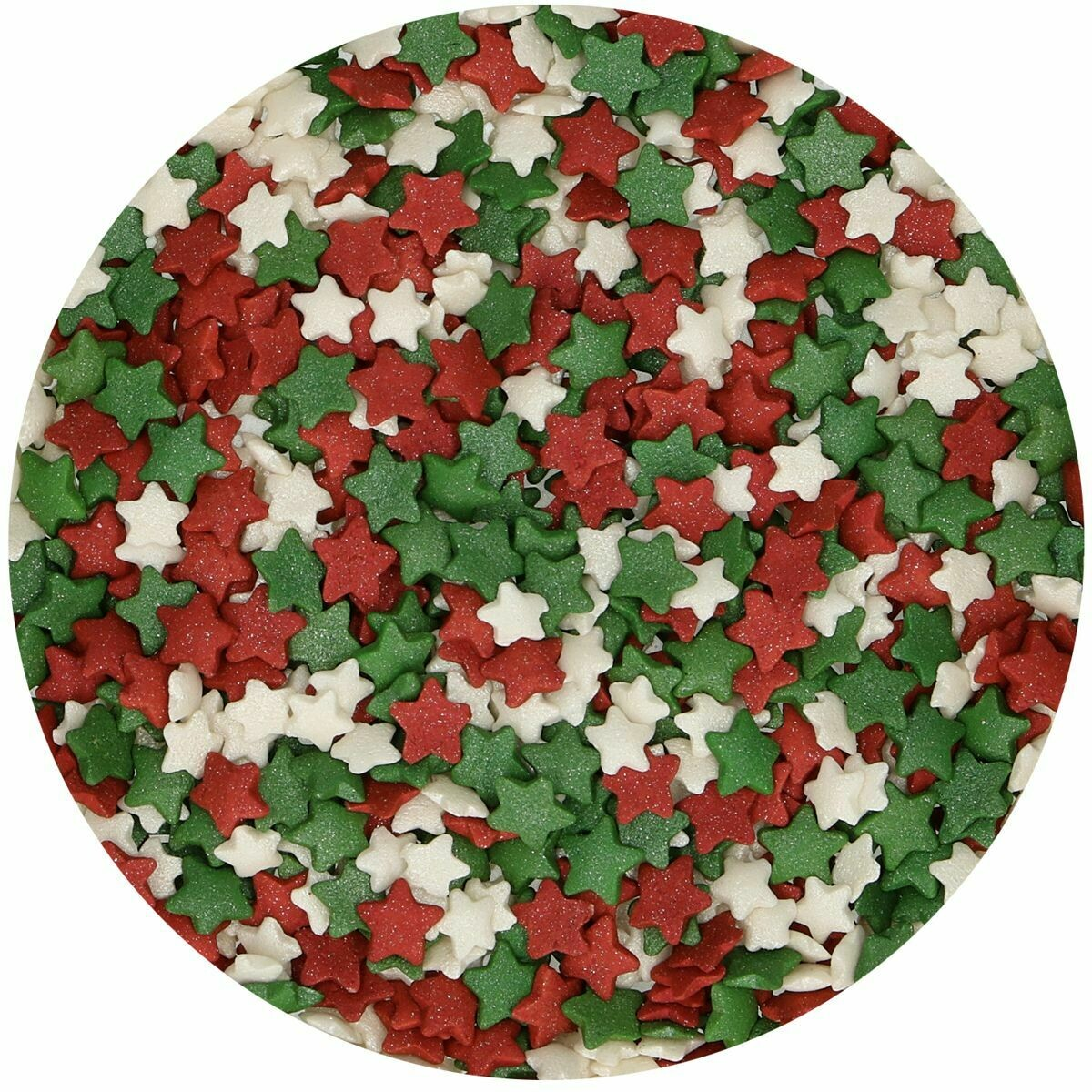 FunCakes Sprinkles -STARS -RED, GREEN & WHITE 60γρ - Μείγμα Ζαχαρωτών Κόκκινα, Πράσινα και Λευκά Αστέρια