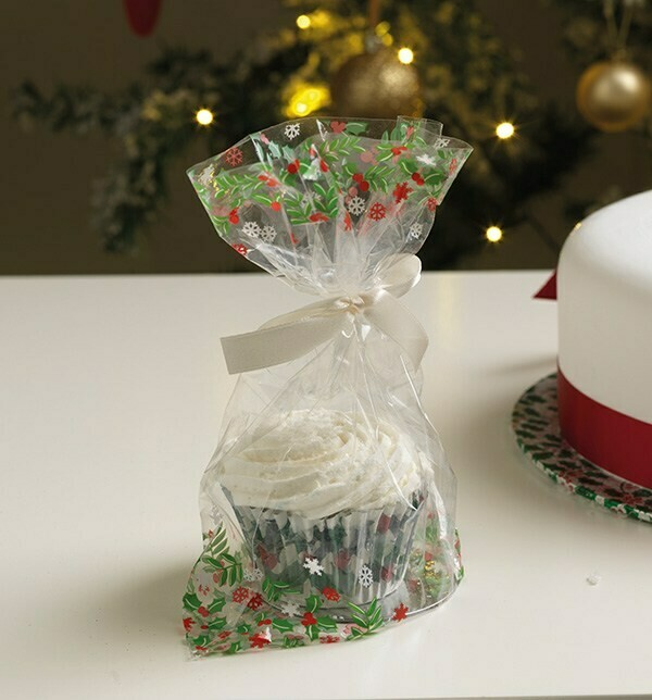 Culpitt Bags -Cupcake Bags with Ribbon Ties -HOLLY DESIGN - 12τεμ Διάφανες Σακούλες Καπκέϊκ,  με κορδέλες και βάσεις, με Εκτύπωση 'ΓΚΙ'