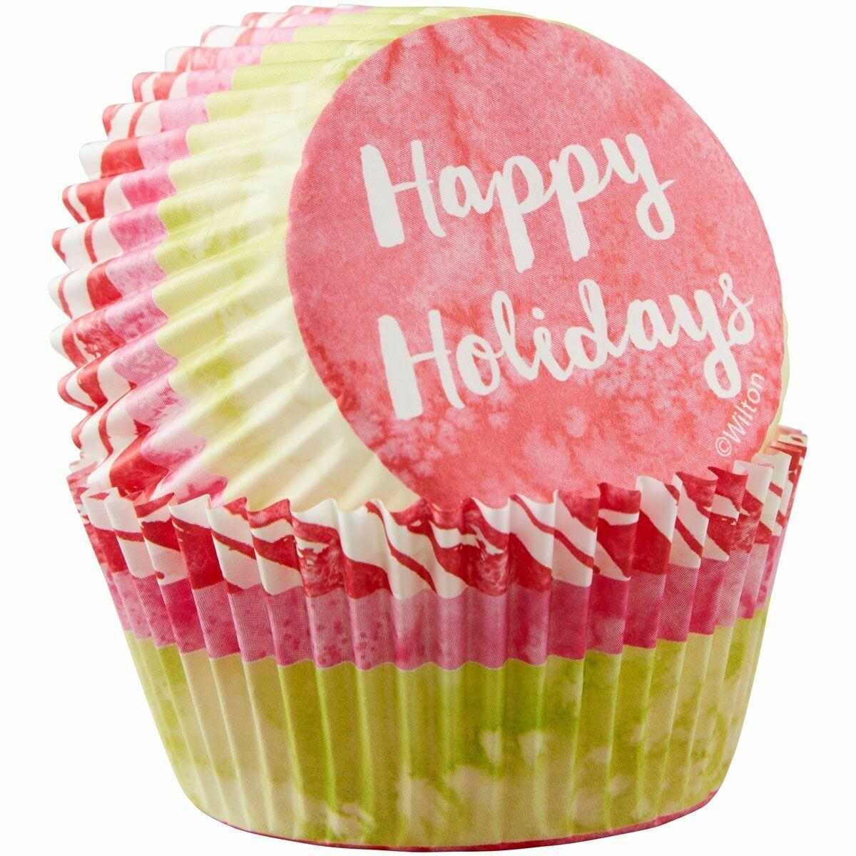 Wilton Christmas Cupcake Cases -HAPPY HOLIDAYS - Θήκες ψησίματος 75 τεμάχια