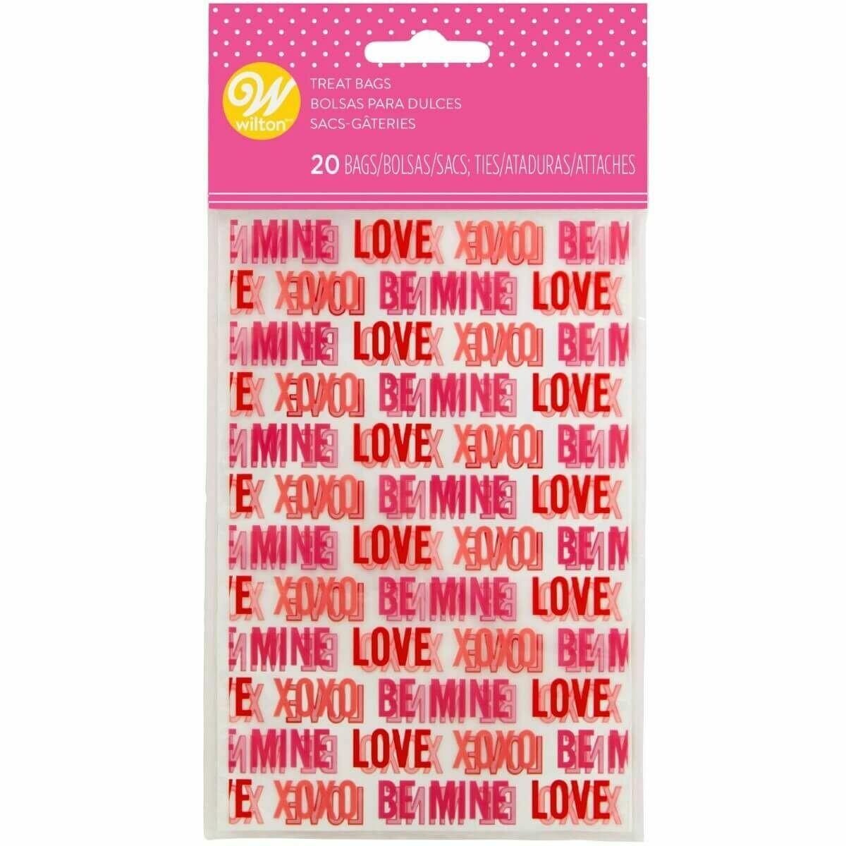 Wilton Valentine Treat Bags -LOVE -Pack of 20 - 20τεμ Σακουλάκια και συρματάκια για γλυκά και ζαχαρωτά