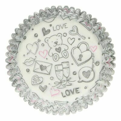 SALE!!! FunCakes Cupcake Cases -LOVE DOODLE -Θήκες Ψησίματος 48 τεμ