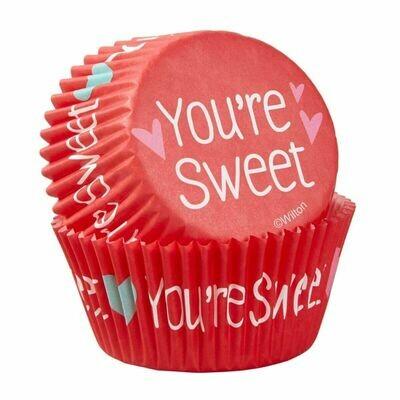 Wilton Valentine Cupcake Cases -'YOU'RE SWEET  -Θήκες ψησίματος Καπκέικ/Μάφιν 75 τεμ