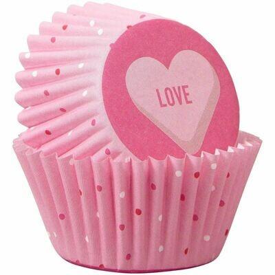 Wilton Valentine Cupcake Cases -MINI 'LOVE'  - Μίνι Θήκες ψησίματος Καπκέικ/Μάφιν 100 τεμ με καρδιές