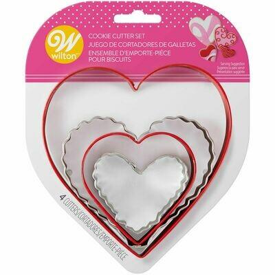 Wilton Valentine Cookie Cutter Set of 4 -HEARTS - Σετ 4τεμ Κουπ πατ καρδιές