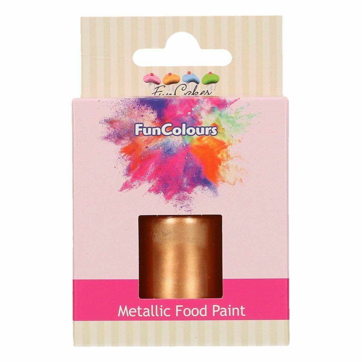 FunCakes Edible Metallic Food Paints -COPPER -Μεταλλικό Βρώσιμο Χρώμα Ζωγραφικής -Χαλκός 30ml
