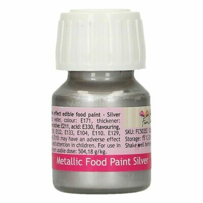 FunCakes Edible Metallic Food Paints -SILVER -Μεταλλικό Βρώσιμο Χρώμα Ζωγραφικής - Ασημί  30ml