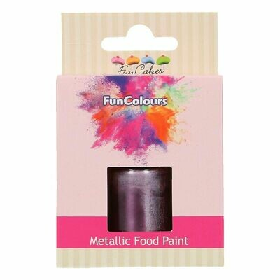 FunCakes Edible Metallic Food Paints -PURPLE -Μεταλλικό Βρώσιμο Χρώμα Ζωγραφικής - Μωβ  30ml