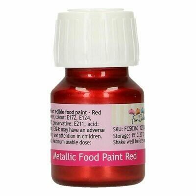FunCakes Edible Metallic Food Paints -RED -Μεταλλικό Βρώσιμο Χρώμα Ζωγραφικής - Κόκκινο  30ml