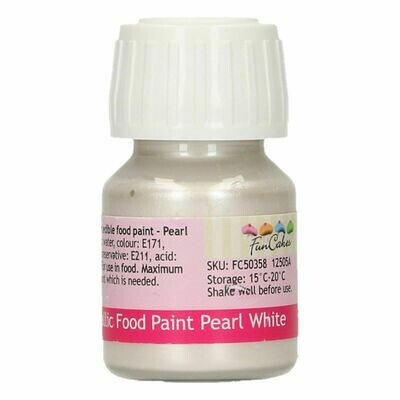 FunCakes Edible Metallic Food Paints -PEARL WHITE -Μεταλλικό Βρώσιμο Χρώμα Ζωγραφικής - Λευκό Περλέ 30ml