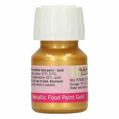 FunCakes Edible Metallic Food Paints -GOLD -Μεταλλικό Βρώσιμο Χρώμα Ζωγραφικής - Χρυσό 30ml