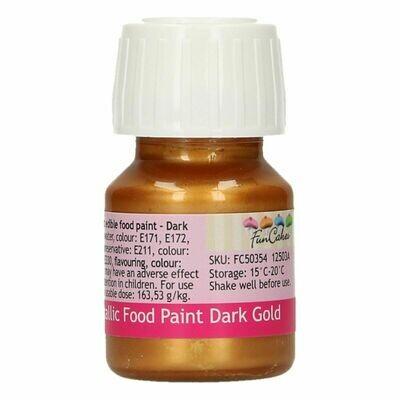 FunCakes Edible Metallic Food Paints -DARK GOLD -Μεταλλικό Βρώσιμο Χρώμα Ζωγραφικής - Σκούρο Χρυσό 30ml