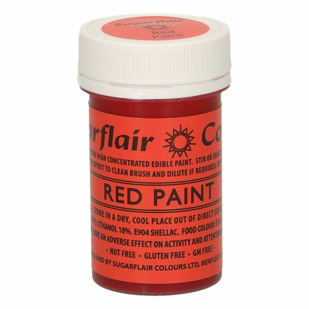Sugarflair Matt Food Paints -RED -Ματ Βρώσιμο Χρώμα Ζωγραφικής -Κόκκινο 20γρ