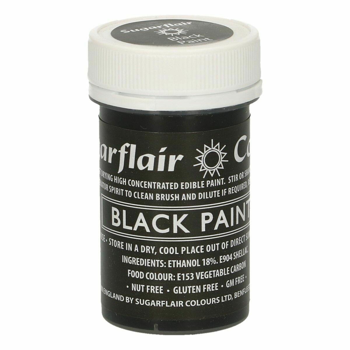 Sugarflair Matt Food Paints -BLACK -Ματ Βρώσιμο Χρώμα Ζωγραφικής -Μαύρο 20γρ
