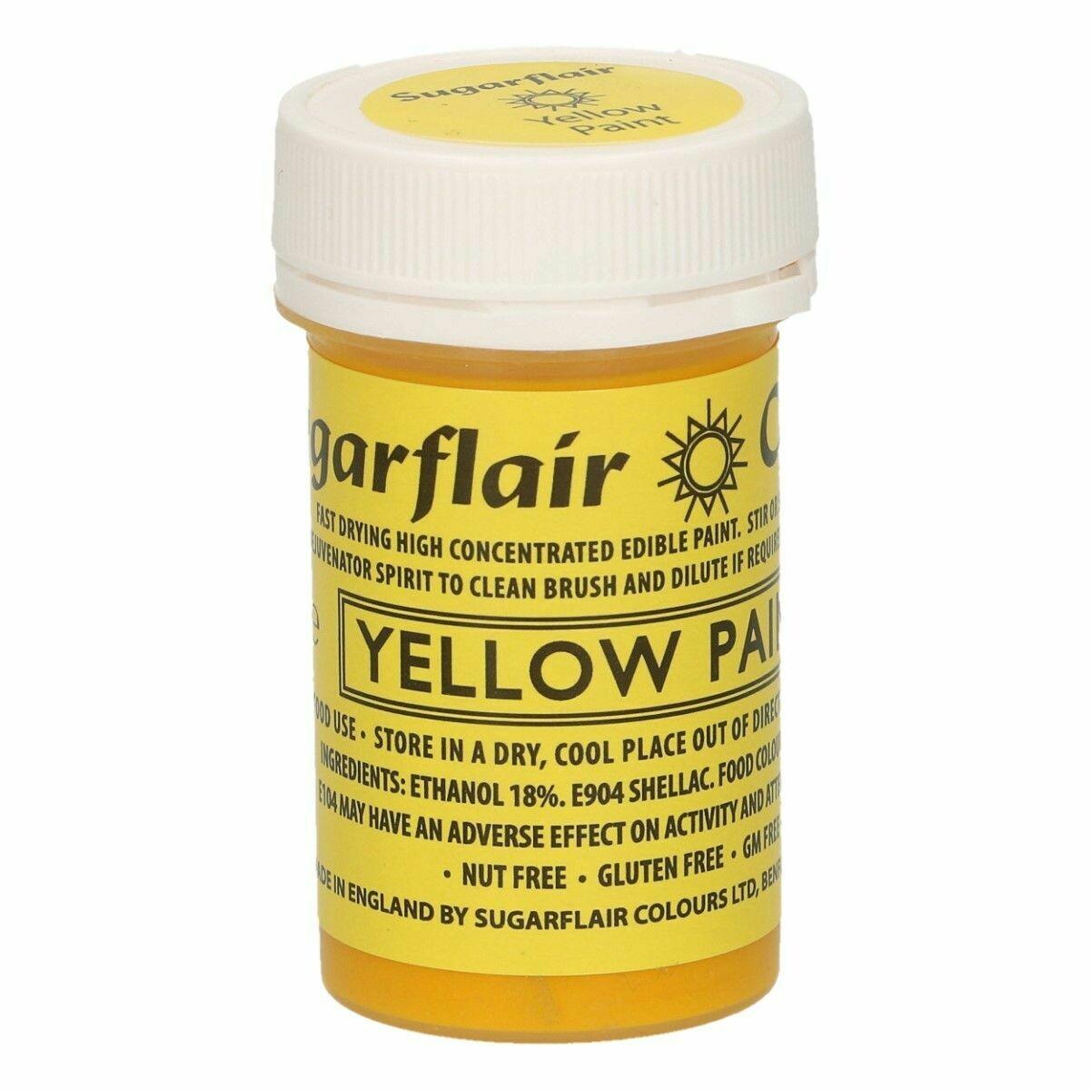 Sugarflair Matt Food Paints -YELLOW -Ματ Βρώσιμο Χρώμα Ζωγραφικής -Κίτρινο 20γρ