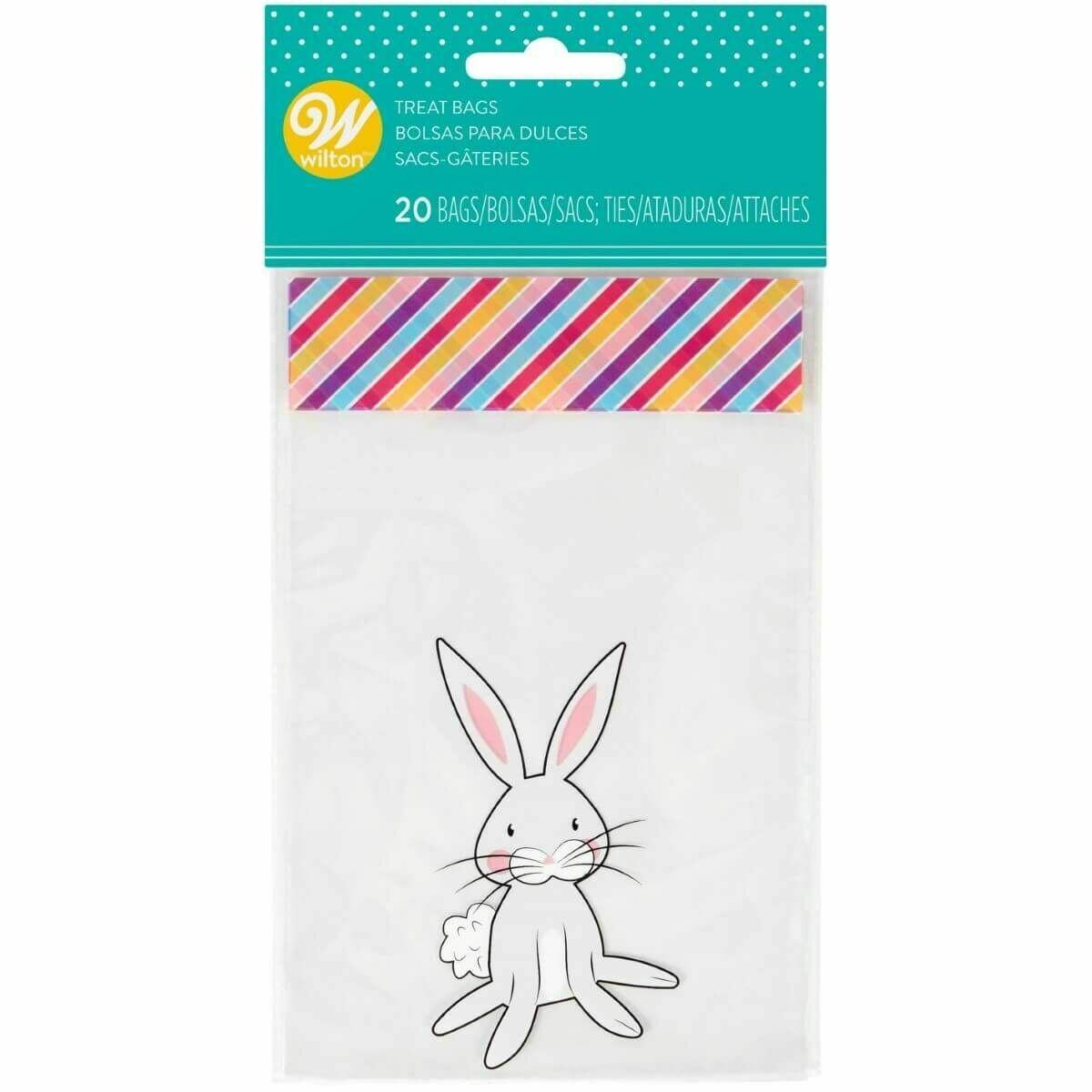Wilton Easter Treat Bags -CUTE BUNNY -20τεμ σακουλάκια και συρματάκια για γλυκά & ζαχαρωτά Κουνελάκι