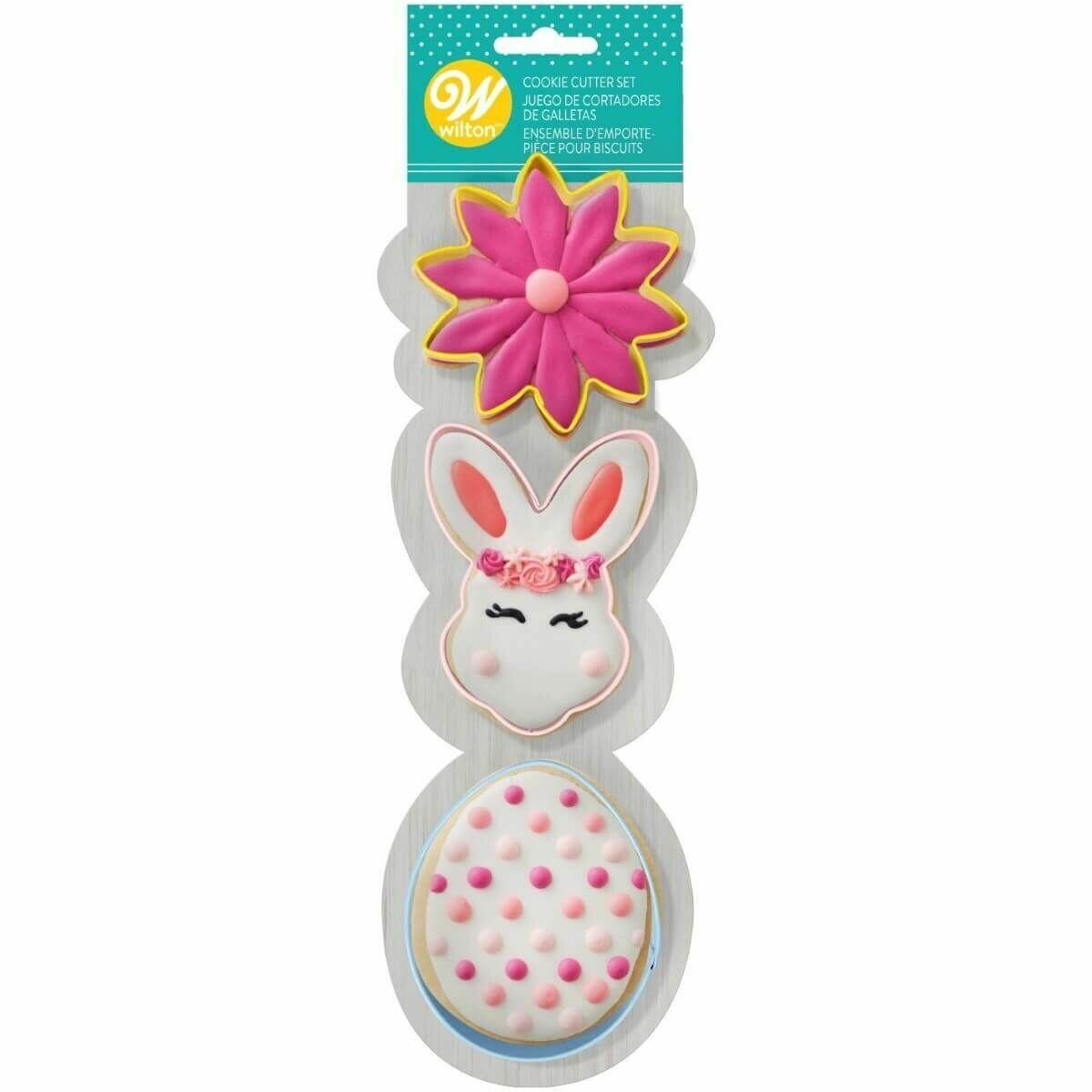 Wilton Easter Cookie Cutter Set of 3 -SPRING DESIGNS -BUNNY HEAD, EGG & FLOWER -Σετ 3τεμ  Κουπ πάτ με Ανοιξιάτικο θέμα