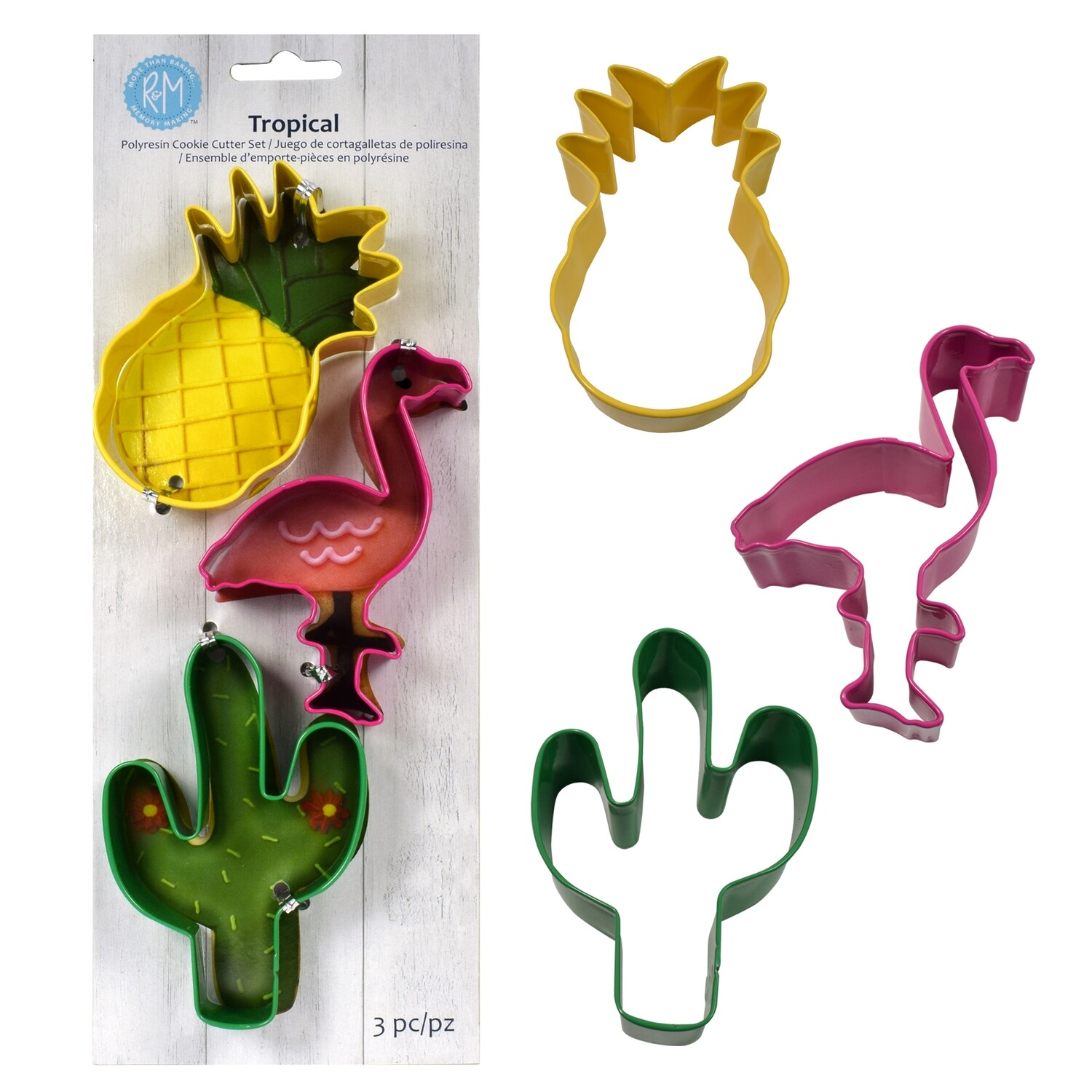 By AH -Set of 3 Cookie Cutters -TROPICAL MIX - Σετ 3 κουπ πατ με Τροπικό θέμα
