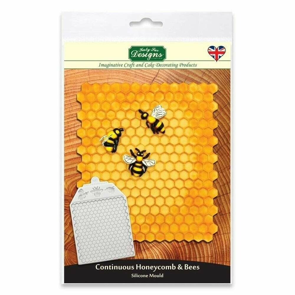 Katy Sue Silicone Embossing Mat -CONTINUOUS HONEYCOMB & BEES - Καλούπι Σιλικόνης Κυψέλη και Μέλισσες