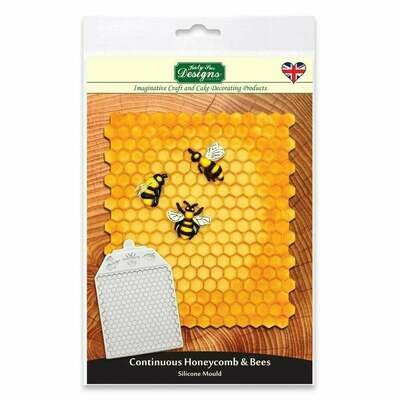 Katy Sue Silicone Embossing Mat -CONTINUOUS HONEYCOMB & BEES - Πατάκι Σιλικόνης Κυψέλη και Μέλισσες