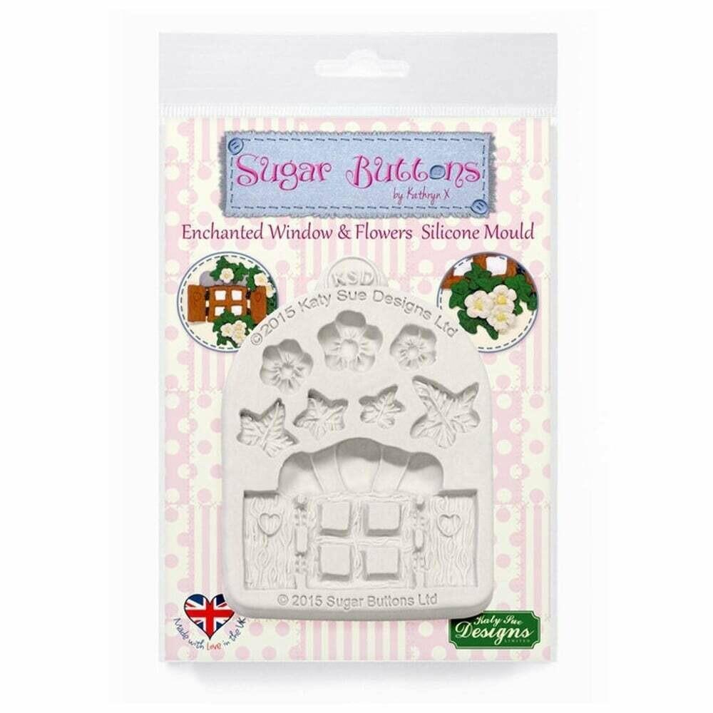 Katy Sue Silicone Mould -Sugar Buttons -ENCHANTED WINDOW & FLOWERS -Καλούπι Σιλικόνης Μαγεμένο Παράθυρο και Λουλούδια