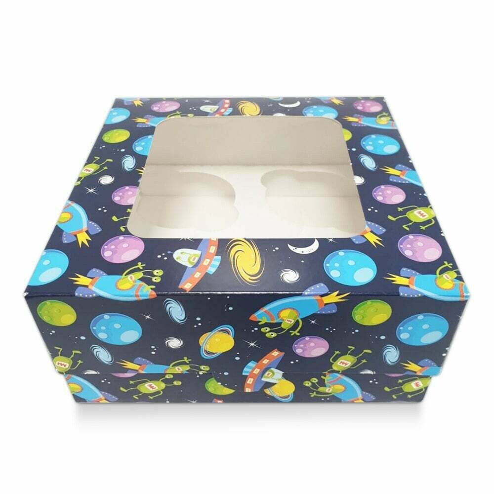 Box for 4 Cupcakes/Muffins -BLUE SPACESHIP THEME Κουτί για 4 Καπκέϊκς/Μάφινς με θέμα το Διάστημα ∞