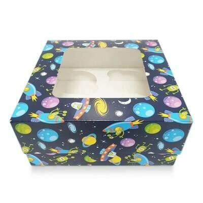 Box for 4 Cupcakes/Muffins -BLUE SPACESHIP THEME Κουτί για 4 Καπκέϊκς/Μάφινς με θέμα το Διάστημα