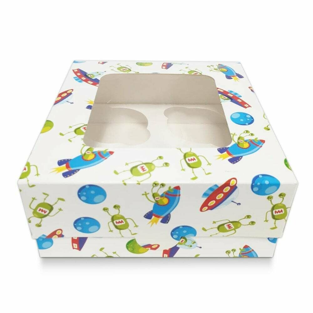 Box for 4 Cupcakes/Muffins -WHITE SPACESHIP THEME Κουτί για 4 Καπκέϊκς/Μάφινς με θέμα το Διάστημα