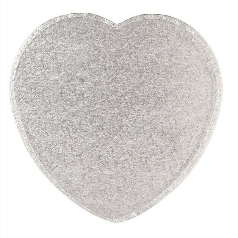 "Cake Drum HEART Silver 30cm (12"") - Ασημένια Βάση σε σχήμα καρδιάς 30εκ - Πάχος 1,3εκ"