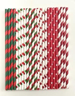 # Pandecor Paper Straws Red & Green -Χάρτινα Καλαμάκια Ριγέ και Πουά, Κόκκινα & Πράσινα 24τμχ