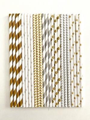 # Pandecor Paper Straws Silver & Gold - Χάρτινα Καλαμάκια Ριγέ και Πουά  Ασημένια & Χρυσά 24τεμ