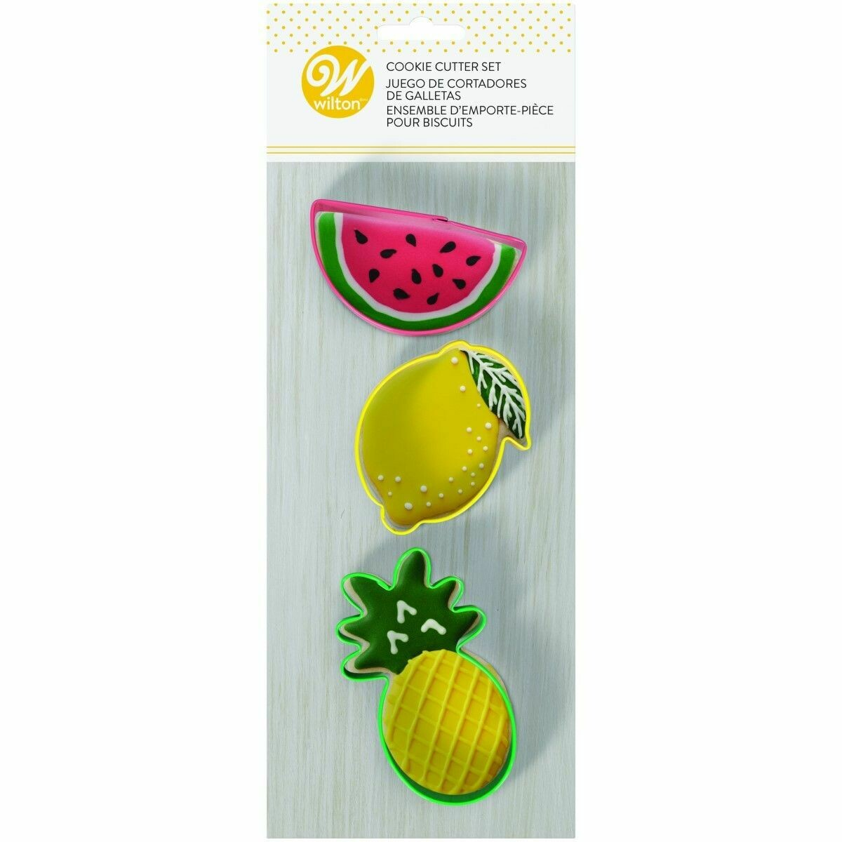 Wilton Cookie Cutter Set of 3 -WATERMELON, LEMON and PINEAPPLE - Σετ 3τεμ Κουπ πατ ΚΑΡΠΟΥΖΙ, ΛΕΜΟΝΙ, ΑΝΑΝΑΣ