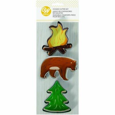 Wilton Cookie Cutter Set of 3 -CAMPING THEME -FIRE, BEAR and TREE - Σετ 3τεμ Κουπ πατ με θέμα το κάμπινγκ - Φωτιά, Αρκούδα, Δέντρο