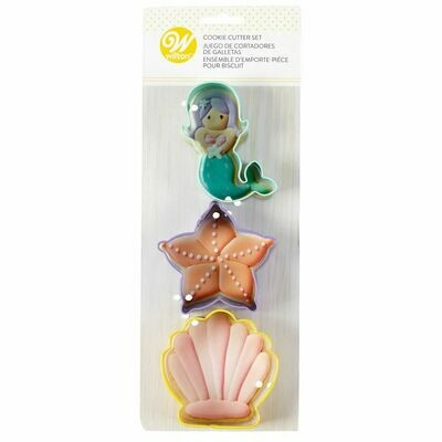Wilton Cookie Cutter Set of 3 -SEA LIFE -MERMAID, STARFISH and SHELL - Σετ 3τεμ Κουπ πατ με θέμα τη Θάλασσα - ΓΟΡΓΟΝΑ, ΑΣΤΕΡΙΑΣ, ΚΟΧΥΛΙ