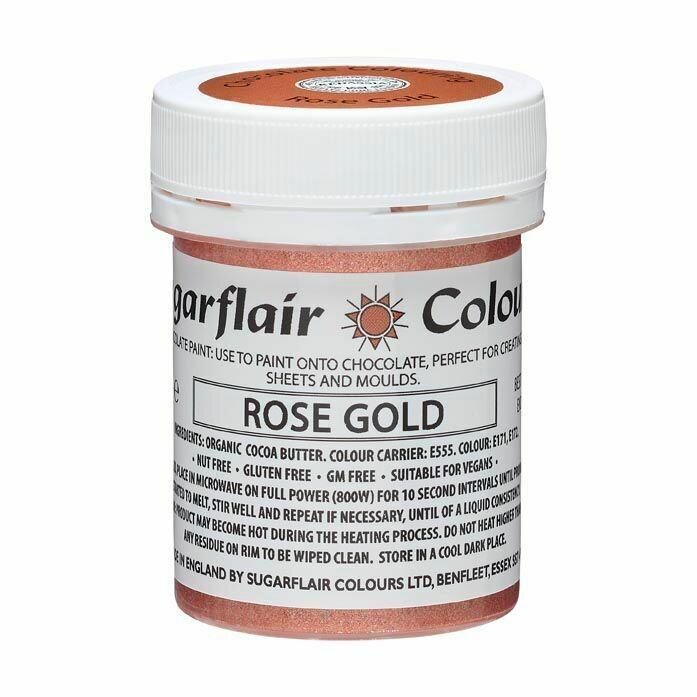 Sugarflair Chocolate PAINT -METALLIC ROSE GOLD 35g - Χρώμα Σοκολάτας Ροζ Χρυσό Μεταλλικό