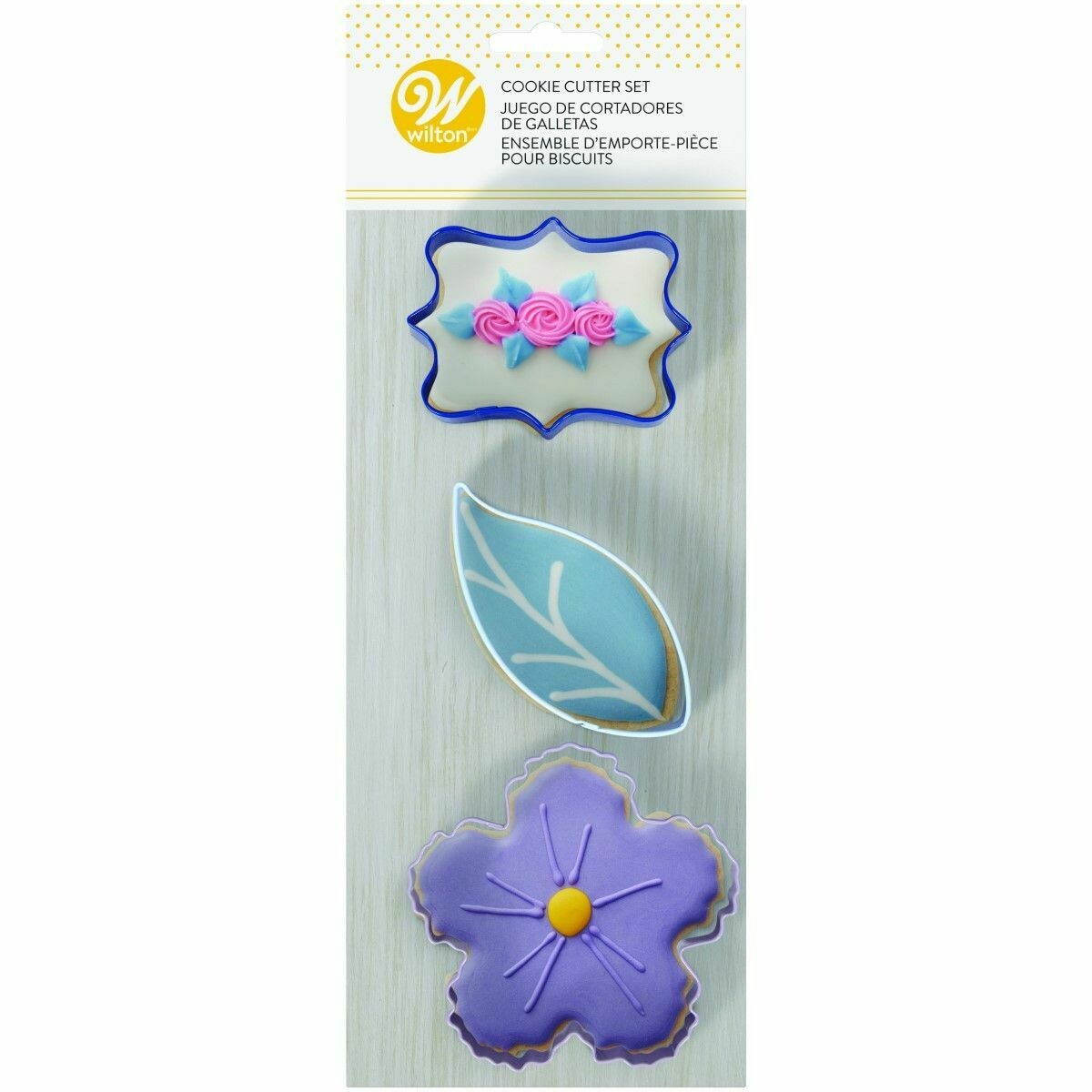 Wilton Cookie Cutter Set of 3 -FLORAL THEME -PLAQUE, LEAF and FLOWER - Σετ 3τεμ Κουπ πατ με θέμα Λουλούδια