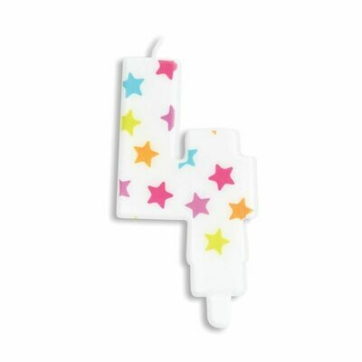 ScrapCooking Candle STARS No.4 - ΛΕΥΚΟ ΚΕΡΙ ΜΕ ΠΟΛΥΧΡΩΜΑ ΑΣΤΕΡΙΑ ΑΡΙΘΜΟΣ '4'