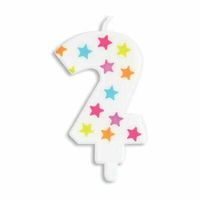 ScrapCooking Candle STARS No.2 - ΛΕΥΚΟ ΚΕΡΙ ΜΕ ΠΟΛΥΧΡΩΜΑ ΑΣΤΕΡΙΑ ΑΡΙΘΜΟΣ '2'
