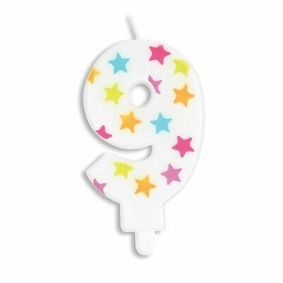 ScrapCooking Candle STARS No.9 - ΛΕΥΚΟ ΚΕΡΙ ΜΕ ΠΟΛΥΧΡΩΜΑ ΑΣΤΕΡΙΑ ΑΡΙΘΜΟΣ '9'