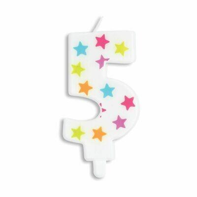 ScrapCooking Candle STARS No.5 - ΛΕΥΚΟ ΚΕΡΙ ΜΕ ΠΟΛΥΧΡΩΜΑ ΑΣΤΕΡΙΑ ΑΡΙΘΜΟΣ '5'