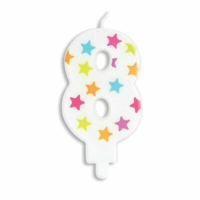 ScrapCooking Candle STARS No.8 - ΛΕΥΚΟ ΚΕΡΙ ΜΕ ΠΟΛΥΧΡΩΜΑ ΑΣΤΕΡΙΑ ΑΡΙΘΜΟΣ '8'
