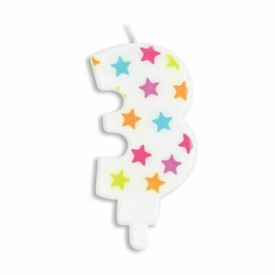 ScrapCooking Candle STARS No.3 - ΛΕΥΚΟ ΚΕΡΙ ΜΕ ΠΟΛΥΧΡΩΜΑ ΑΣΤΕΡΙΑ ΑΡΙΘΜΟΣ '3'