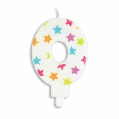 ScrapCooking Candle STARS No.0 - ΛΕΥΚΟ ΚΕΡΙ ΜΕ ΠΟΛΥΧΡΩΜΑ ΑΣΤΕΡΙΑ ΑΡΙΘΜΟΣ '0'